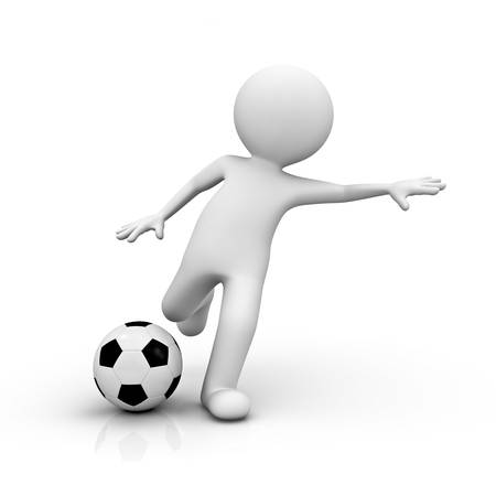 football kick: 3d render man playing soccer on white background