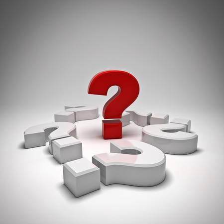 ask a question: Red question mark on white background