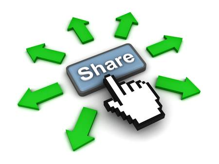 Share button with green arrows on white background photo