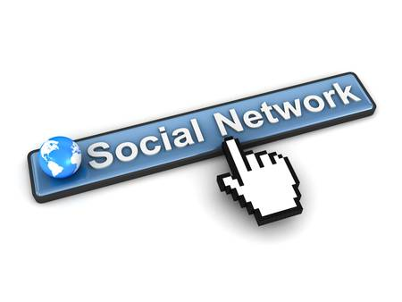 Social network button concept on white background photo