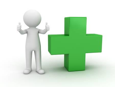 drugstore: 3d hombre mostrando los pulgares para arriba con signo más verde sobre fondo blanco
