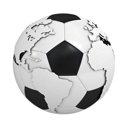 Globe map on soccer ball isolated on white background photo