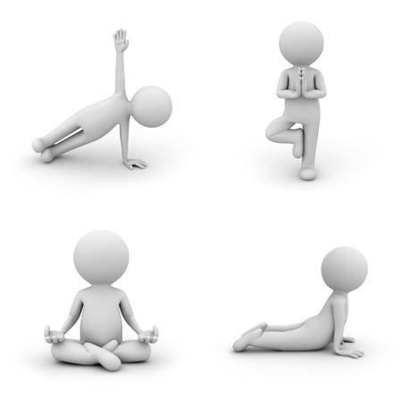 character set: 3d man doing yoga exercise isolated on white background