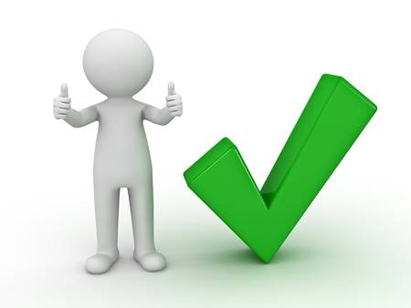 cartoon tick: 3d man showing thumbs up with green check mark on white background