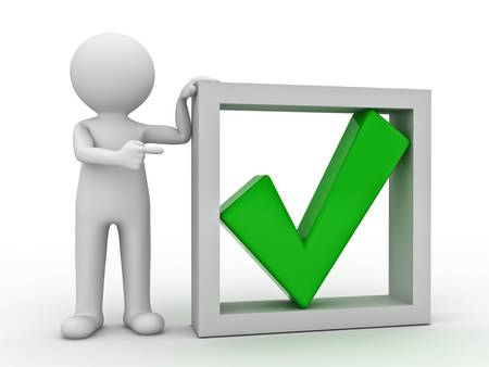 correct: 3d man pointing finger at green check mark in box on white background
