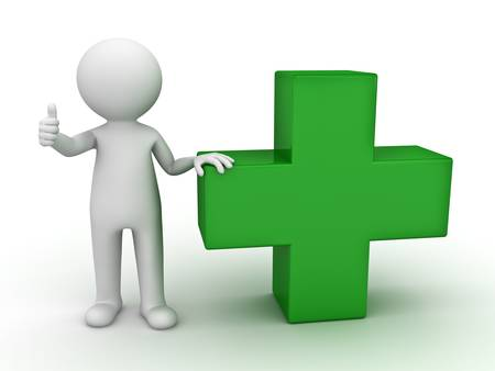first aid kit: 3d man showing thumbs up with green plus sign on white background Stock Photo