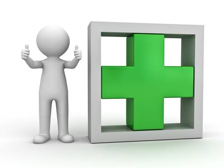 3d man showing thumbs up with green plus sign in box on white background photo