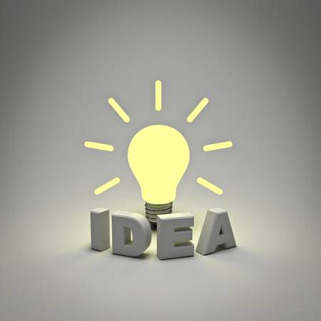 Idea light bulb concept, word idea and glowing lightbulb on white background Stock Photo - 14308096