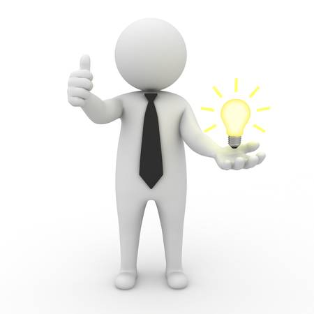3d businessman with idea lightbulb on his hand over white background photo