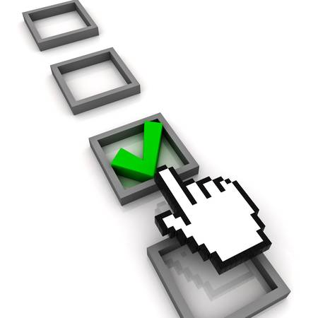 Hand cursor marking a check box on white background photo
