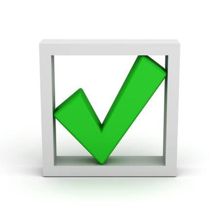 Verde segno di spunta nella casella su sfondo bianco Archivio Fotografico