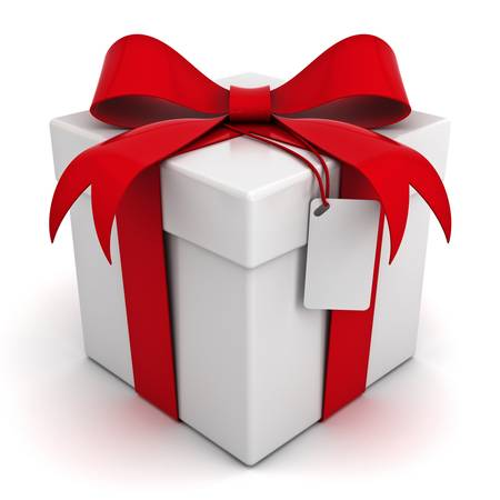 Gift box with red ribbon bow with blank tag isolated on white background Stock Photo - 14308097