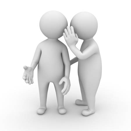 �couter: Concept de Gossip sur fond blanc Banque d'images