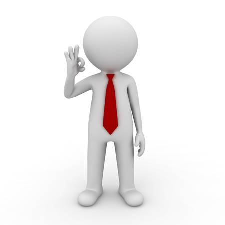 3d render businessman showing OK hand sign isolated on white background photo