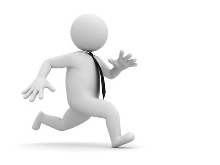 3d running businessman isolated on white background with shadow Stock Photo - 14821470