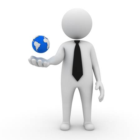 3d business man with earth globe in his hand on white background photo