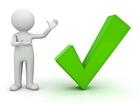 man presenting: 3d man presenting green check mark over white background Stock Photo