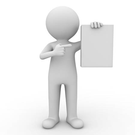 3d man showing blank box or book and pointing finger at it over white background photo