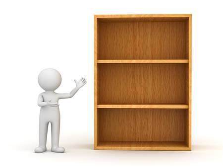 3d man standing and presenting wood shelves over white background photo