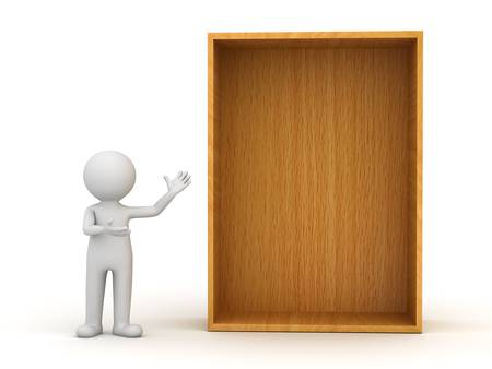 present presentation: 3d man standing and presenting blank wood shelf or box over white background Stock Photo