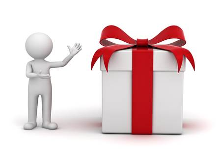 3d man presenting gift box over white background photo