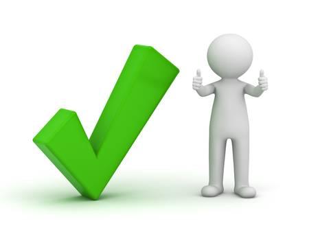 coincidir: Hombre 3d que muestra los pulgares para arriba con la marca de verificación de color verde sobre fondo blanco