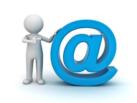 3d man pointing finger at blue email sign on white background Stock Photo - 14821506