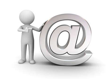 e mail: 3d man standing and pointing finger at metal email sign on white background Stock Photo