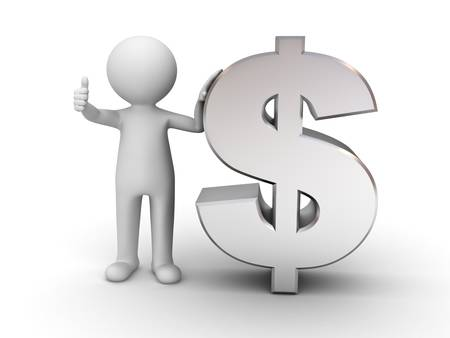 3d man showing thumbs up with metal dollar sign on white background