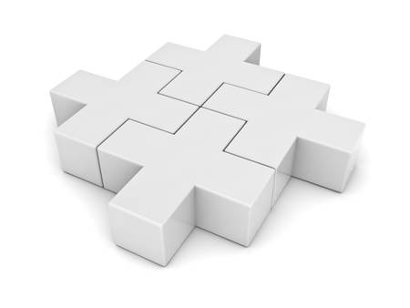 group  join: White plus jigsaw puzzle pieces on white background Stock Photo