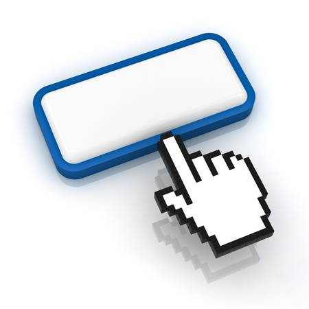 Blank button with hand cursor on white background Stock Photo - 14821618