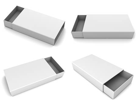 Collection of blank slide boxes on white background photo