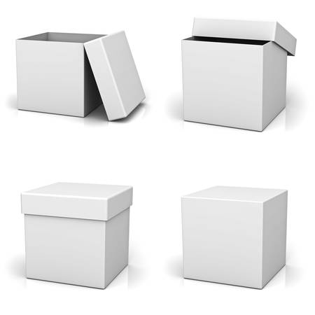 Collection of blank boxes on white background with reflection photo