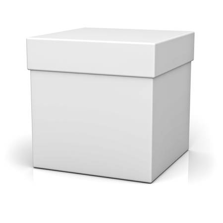 ebox: Blank box on white background with reflection