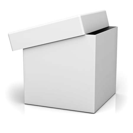 Blank box with cover on white background with reflection photo