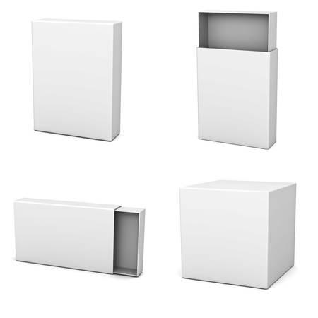 product box: Raccolta di caselle vuote su sfondo bianco con la riflessione
