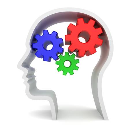 Gears instead of brain in head shape on white background
