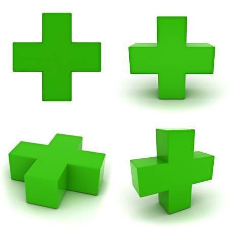 addition: Collection de signe plus vert isol� sur fond blanc