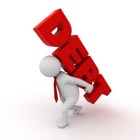 Debt concept, 3d business man carrying word debt on his back isolated on white background photo