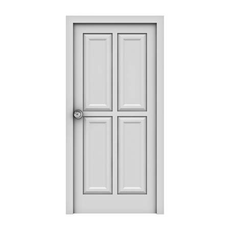 White door isolated on white background photo