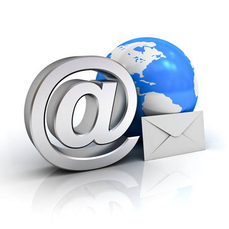 Email sign, blue globe map and envelope on white background with reflection photo
