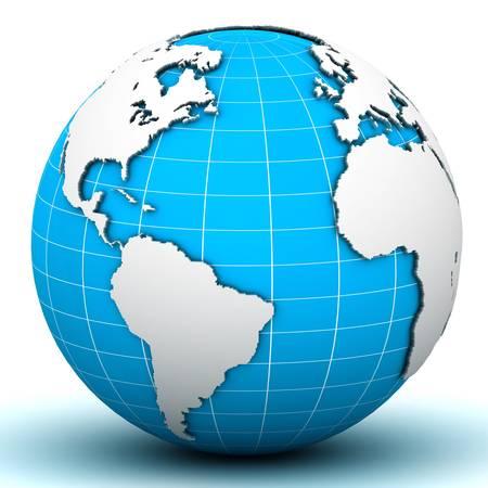 földgolyó: Világ földgolyó térkép Stock fotó
