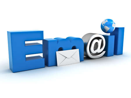 contacts: Email concept, word email with envelope, globe map and metal at sign on white background