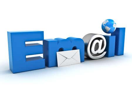 Email concetto, e-mail parola con mappa globo busta, e di metallo a segno su sfondo bianco