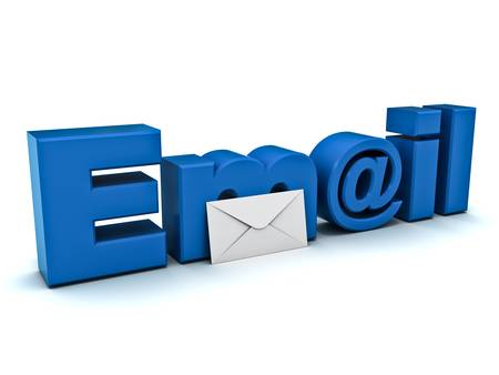Email concept on white background photo