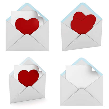 resign: Red heart in envelope collection isolated on white background