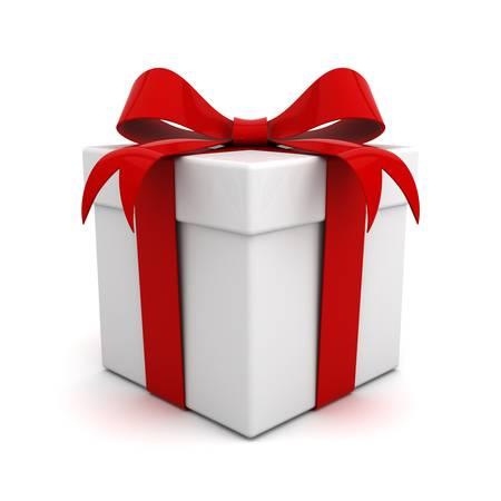 Cadeau vak met rode lint boeg geïsoleerd op witte achtergrond Stockfoto