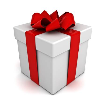 Gift box with red ribbon bow isolated on white background Stock Photo - 14821584