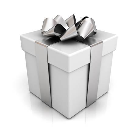 Coffret cadeau avec ruban d'argent arc isolé sur fond blanc