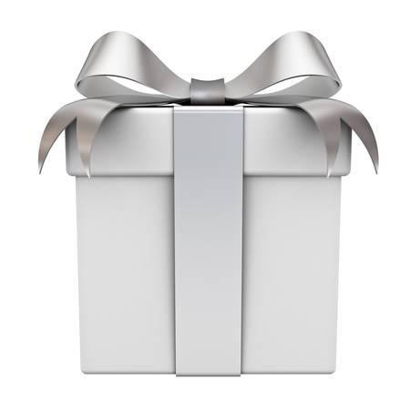 Confezione regalo con nastro d'argento prua isolato su sfondo bianco